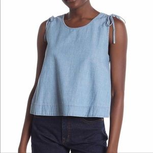 🌞Madewell crop swing chambray tank top